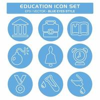 definir vetor de ícone de educação - estilo olhos azuis