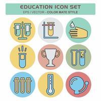 definir vetor de ícone de educação 1 - estilo companheiro de cor