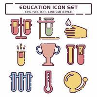 definir vetor de ícone de educação 1 - estilo de corte de linha