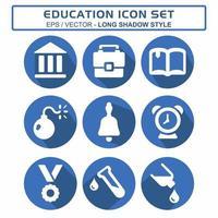 definir vetor de ícone de educação - estilo sombra longa