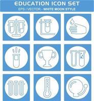 definir vetor de ícone de educação 1 - estilo lua branca
