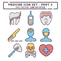 definir vetor de ícone do medicamento parte 3 - estilo de corte de linha