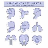 definir vetor de ícone do medicamento parte 4 - estilo de dois tons