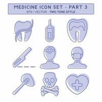 definir vetor de ícone do medicamento parte 3 - estilo de dois tons