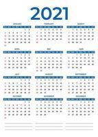 2021 calendário vetor 12 meses