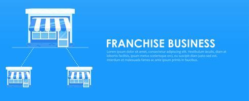 Bandeira de franquia. Cadeia de lojas com um plano de negócios pronto. Ilustração vetorial plana