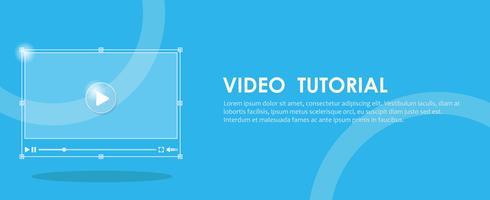 Banner de tutorial em vídeo. Mão pressionando um computador. Ilustração vetorial plana