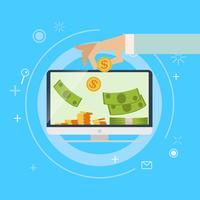 Banca de ganhos on-line bancário. O dinheiro é colocado no computador. Ilustração em vetor plana.