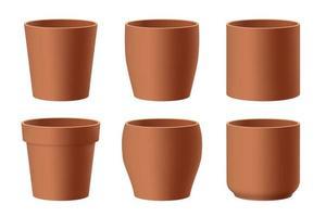 conjunto de vasos de flores de cerâmica marrom realistas vetor