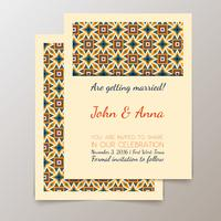Cartão de convite de casamento com vintage geométrica