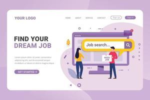 modelo de página de destino pesquisa de empregos na internet para desempregados vetor