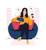 mulher relaxando em casa e fazendo uma pausa para o café ilustração do conceito vetor