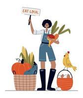 comer o conceito de mercado local ou agrícola vetor