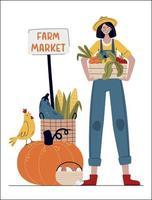 mulher agricultora em estilo moderno vetor