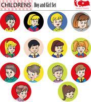 Menino e menina conjunto de caracteres, vetor, eps vetor