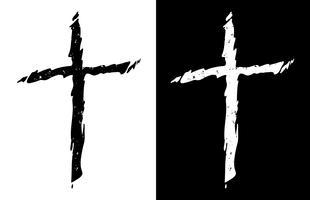 Cruz cristã afligida áspera velha na ilustração isolado isolado preto e branco do vetor