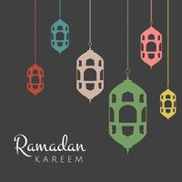 Fundo de Ramadan Kareem com lanternas de suspensão vetor