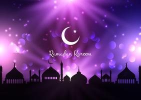 Fundo de Ramadan Kareem com silhuetas de Mesquita contra o céu noturno vetor