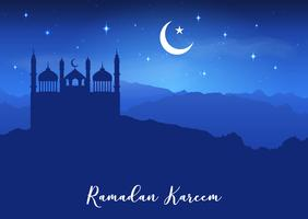 Fundo de Ramadan Kareem com silhuetas de Mesquita contra o céu noturno