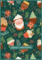ilustração de Natal e feliz ano novo. vetor