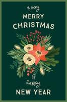 ilustração de Natal e feliz ano novo com arranjos de flores. vetor