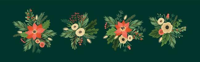 conjunto de arranjos de flores de Natal e feliz ano novo. vetor
