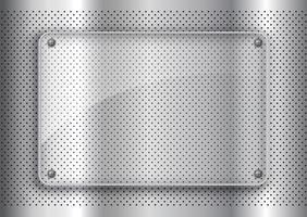 Placa de vidro em fundo de metal perfurado vetor