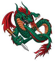 Voar fogo respirando ilustração vetorial de dragão isolado vetor