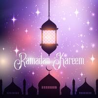 Fundo de Ramadan Kareem com lanterna de suspensão e silhueta de Mesquita