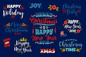 Conjunto de desenhos de letras de Natal e feliz ano novo. vetor