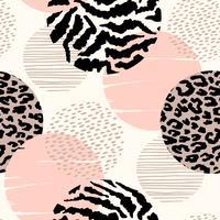 Abstrata sem costura padrão geométrico com animal print e círculos. vetor