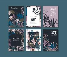 Conjunto de cartões criativos abstratos. vetor
