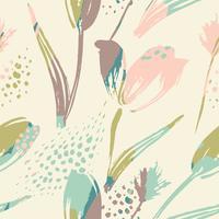 Tulipas de padrão floral sem costura abstrata. Texturas de mão desenhada na moda