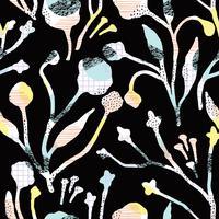 Teste padrão sem emenda floral abstrato com texturas tiradas mão na moda. vetor