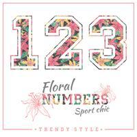 Números florais vetoriais para camisetas, cartazes, cartões e outros usos. vetor