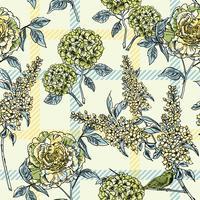 Teste padrão floral sem costura com fundo xadrez.