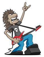 Heavy Metal Rock Guitarrista Cartoon Ilustração Vetor