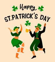 Dia de São Patrick. Ilustração vetorial com pessoas engraçadas vetor