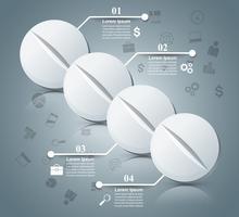 Pílula de Tablet, infográfico de farmacologia. vetor