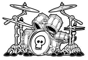 Conjunto de tambor de rock Cartoon ilustração em vetor