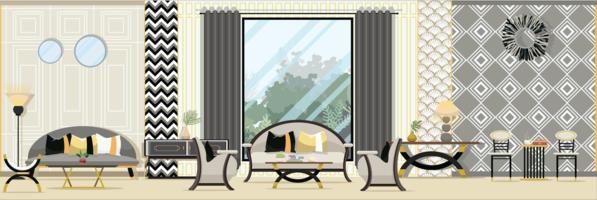 Interior Moderna sala de estar clássica com mobília. Ilustração em vetor design plano