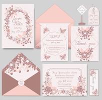 cartão de convite de casamento com modelos de flor