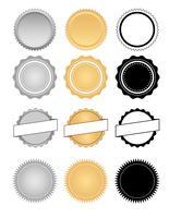 Etiquetas, selos, emblemas e vetor de conjunto de emblema de cera