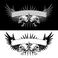 Asas de caveira com gráfico de vetor banner estilo tatuagem