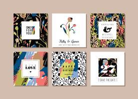 Conjunto de cartões criativos abstratos. Textura de arte mão desenhada e elementos florais.