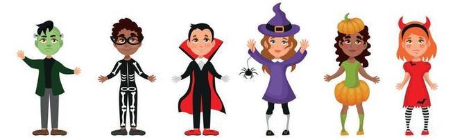 crianças vestidas com fantasias festivas de halloween - vetor