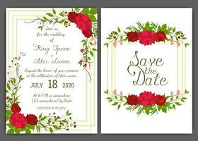 Quadro floral mão desenhada para um convite de casamento
