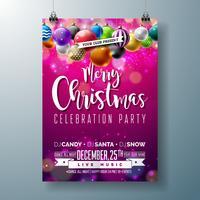 Design de festa de Natal feliz com bolas ornamentais multicoloridas
