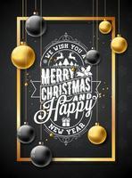 Ilustração de feliz Natal em fundo preto floco de neve