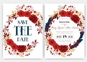 Cartões de casamento elegantes consistem em vários tipos de flores